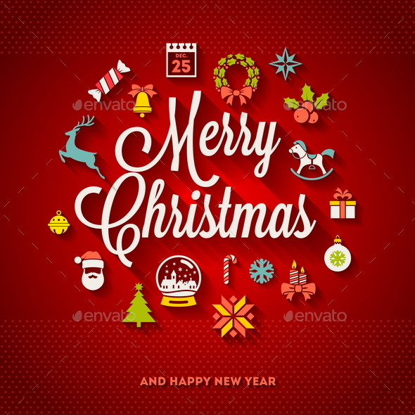 GraphicRiver Christmas Greeting and Flat Icons 8871502