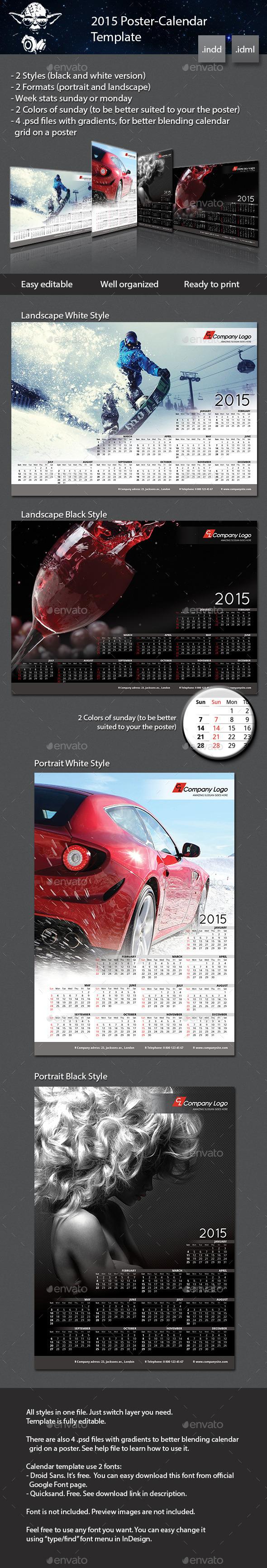GraphicRiver 2015 Poster-Calendar template 8871563