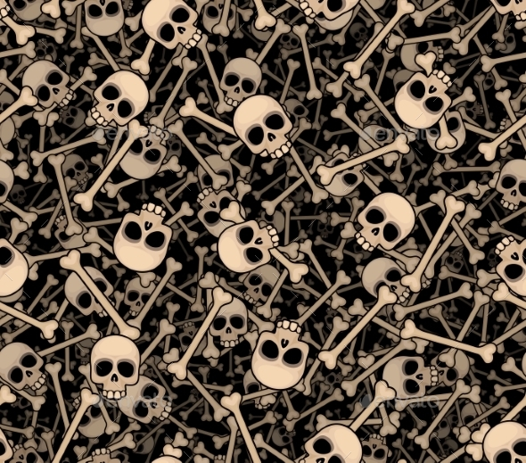 GraphicRiver Skulls and Bones Seamless Background 8872814