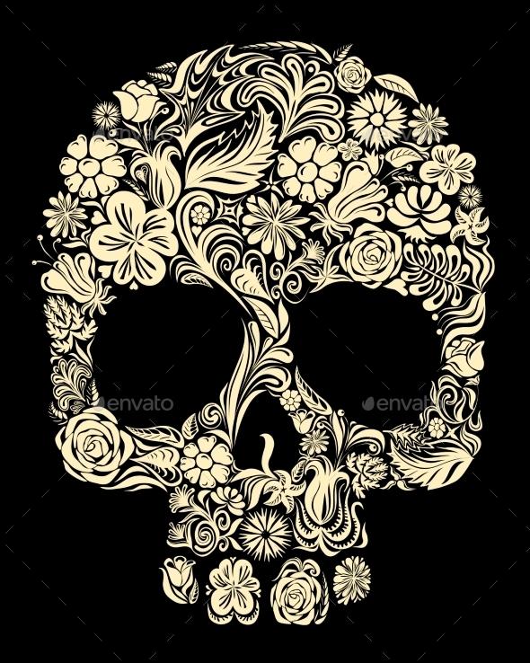 GraphicRiver Floral Skull 8872879