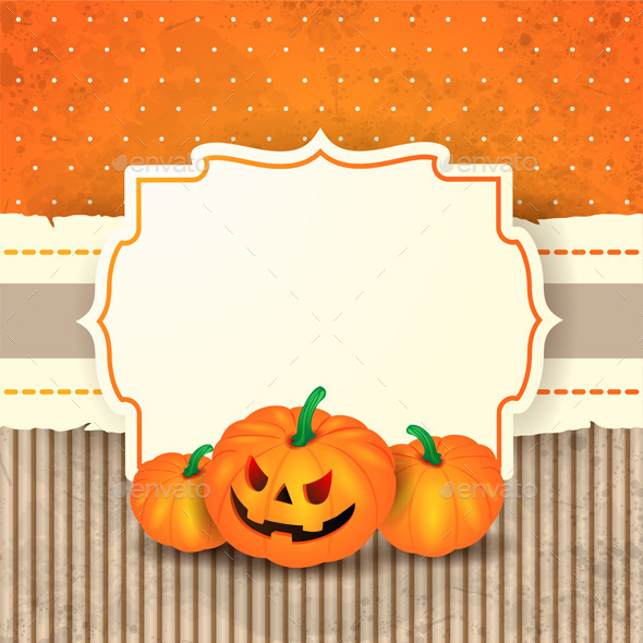 GraphicRiver Halloween Background with Label and Pumpkins 8872975