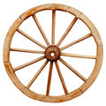 Ancient wooden grunge wagon wheel in country style isolated on w - PhotoDune Item for Sale