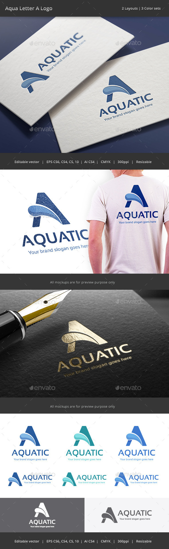 GraphicRiver Aqua Letter A Logo 8873121