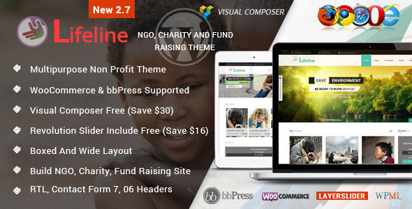 Lifeline - NGO Charity Fund Raising WordPress Theme - Charity Nonprofit
