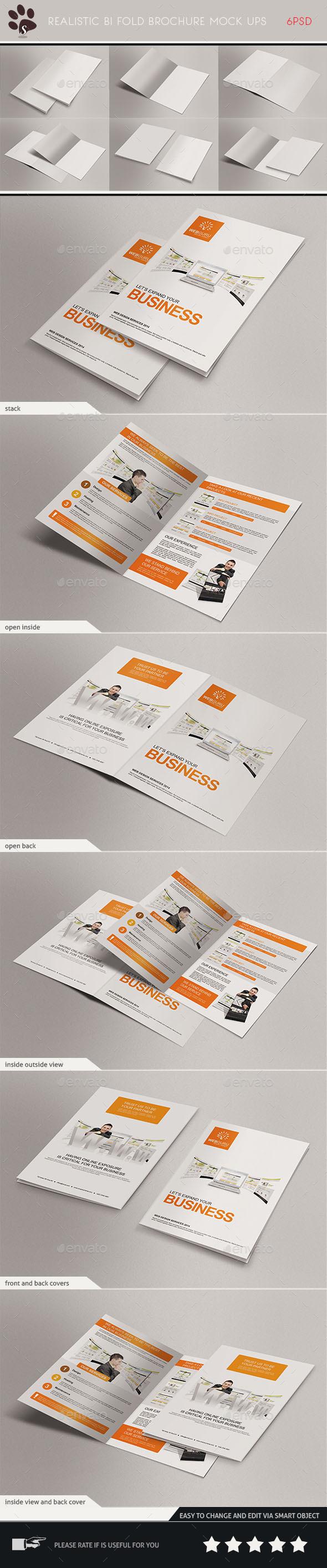 GraphicRiver Realistic Bi Fold Brochure Mock Ups 8872037
