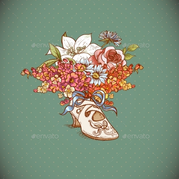 GraphicRiver Vintage Background with Flowers and Shoes 8874356