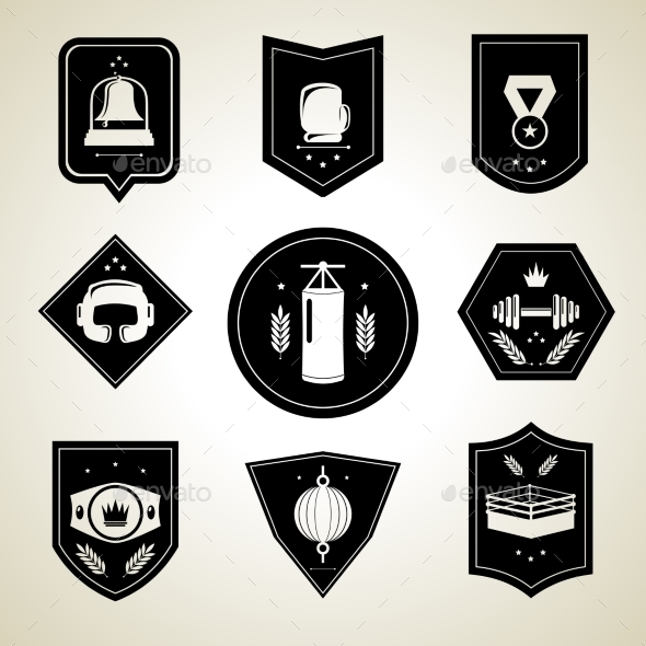 GraphicRiver Boxing Emblems Set Black 8874764