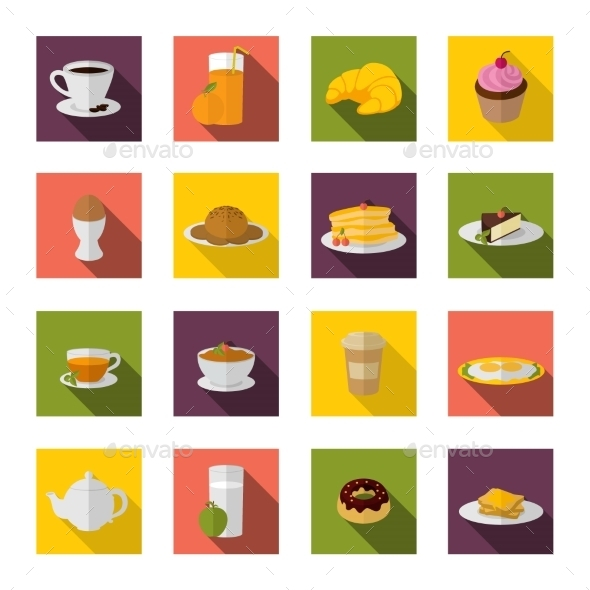 GraphicRiver Breakfast Icons Flat 8874780