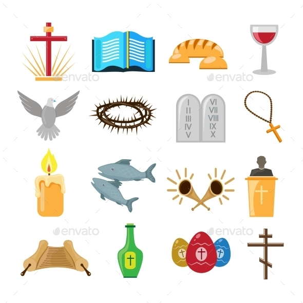 GraphicRiver Christianity Icons Set 8875006