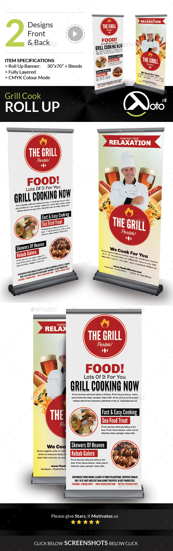 GraphicRiver Grill Cook Outdoor Kebab Party Roll Up Banners 8875432