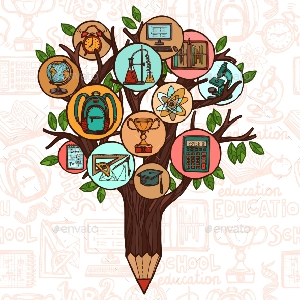 GraphicRiver Tree with Education Icons 8875753