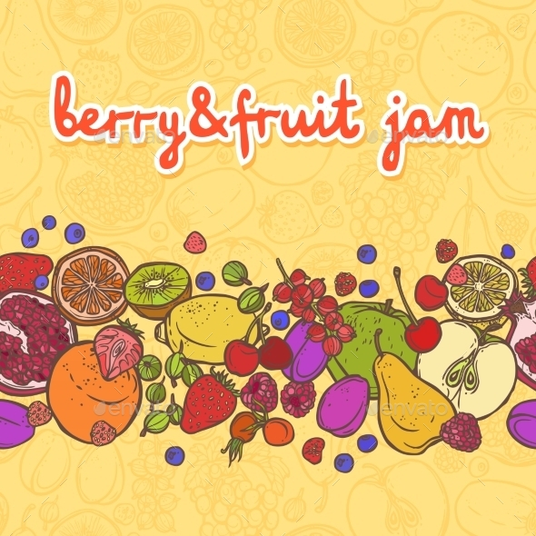 GraphicRiver Fruits and Berries Horizontal Border 8875777