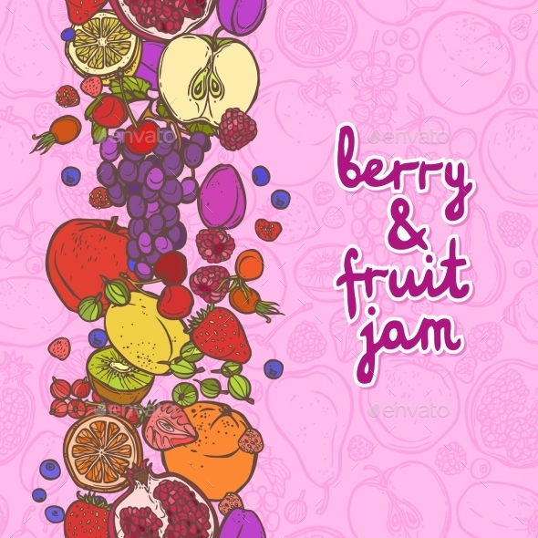 GraphicRiver Fruits and Berries Vertical Border 8875783