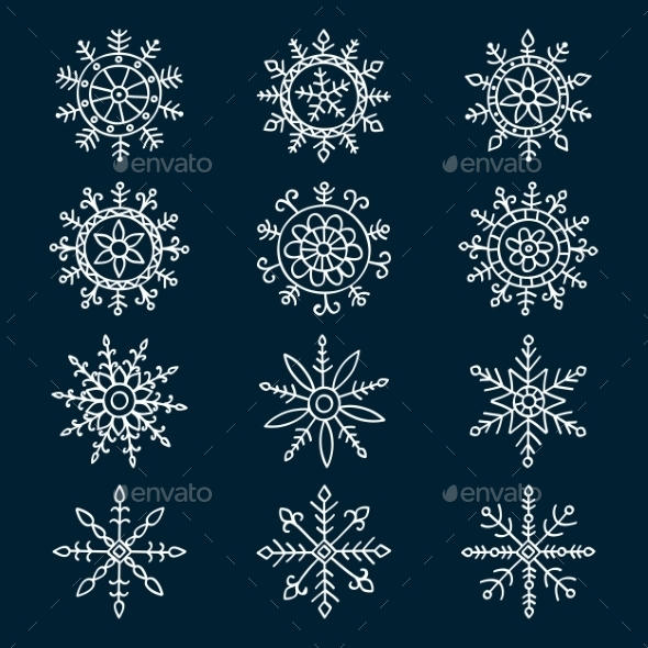GraphicRiver Snowflake Set 8876316