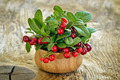 Cowberries in wooden bowl on rustic surface - PhotoDune Item for Sale