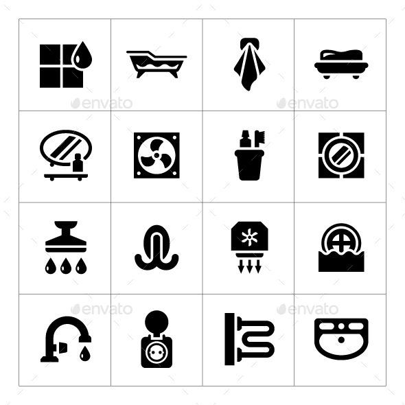 GraphicRiver Set Icons of Bathroom 8876501