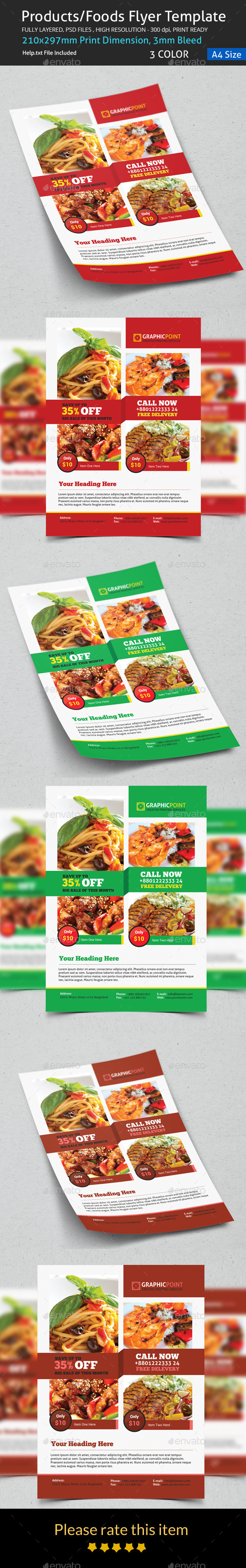 GraphicRiver Products Foods Flyer Template 8877034