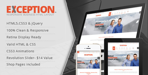 ThemeForest EXCEPTION Responsive Business HTML Template 8825658