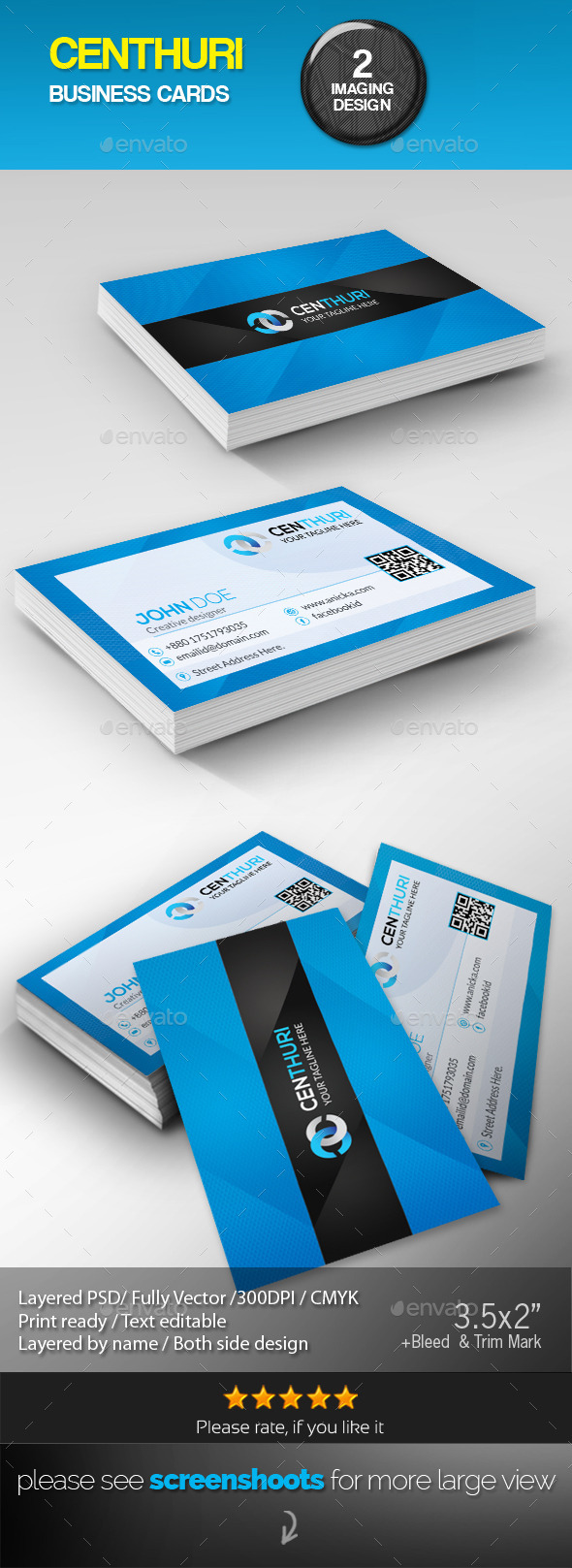GraphicRiver Centhuri Corporate Business Cards 8878773