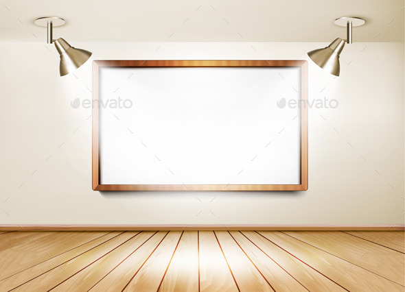GraphicRiver Showroom with Wooden Floor White Board 8879269