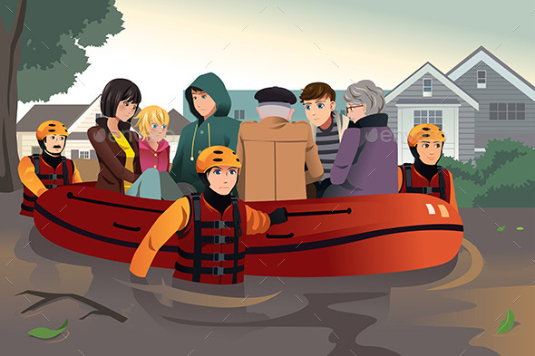 GraphicRiver Rescue Team Helping People During Flooding 8879751