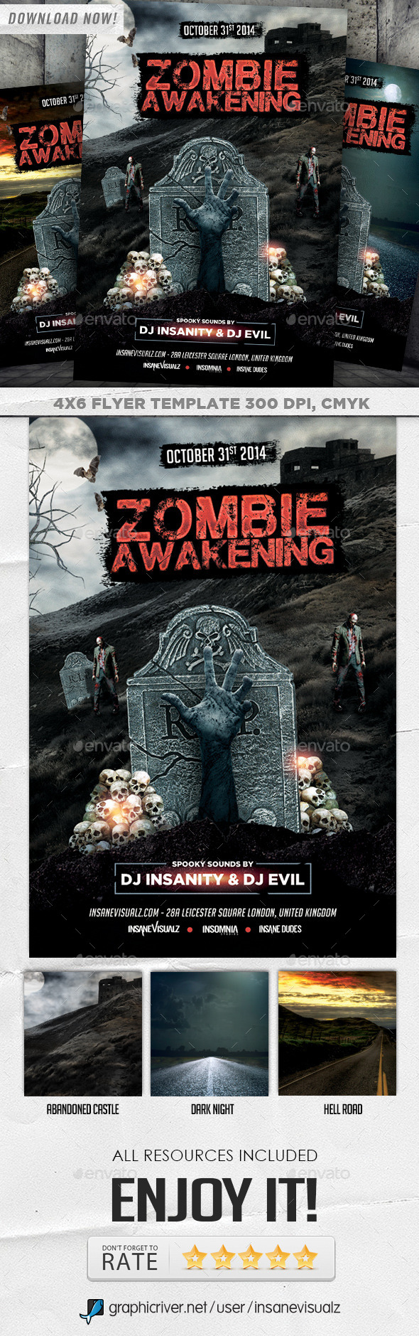 GraphicRiver Zombie Awakening Halloween Flyer 8879796