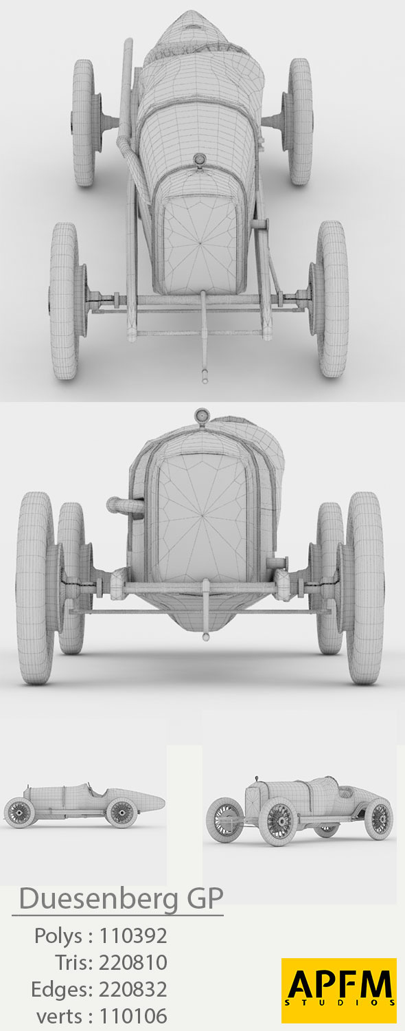 Duesenberg GP 1921 High Poly 3D Model