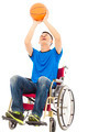 young man sitting on a wheelchair and holding a basketball over white background - PhotoDune Item for Sale