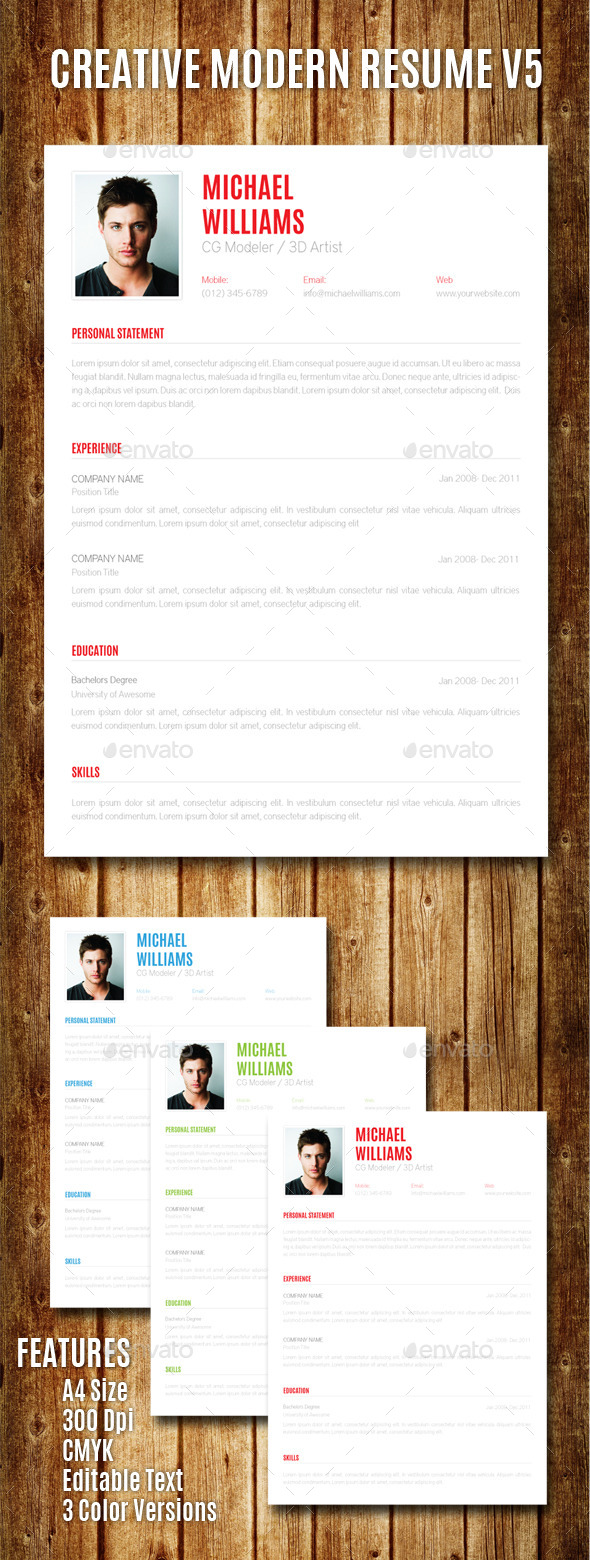 GraphicRiver Creative Modern Resume V5 8880560