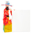 God of wealth holding a blank board over white background - PhotoDune Item for Sale
