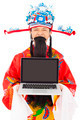 God of wealth holding a laptop  over white background - PhotoDune Item for Sale