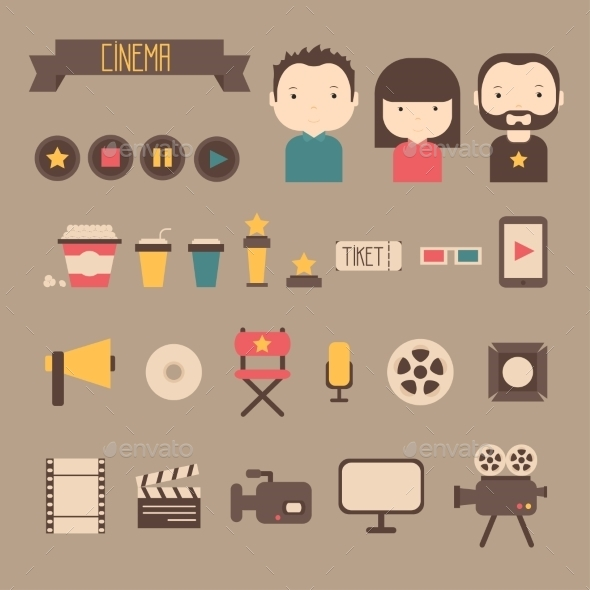 GraphicRiver Set of Movie Design Elements and Cinema Icons 8880691