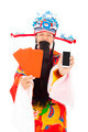 God of wealth holding red envelope and mobile phone. isolated on white background - PhotoDune Item for Sale