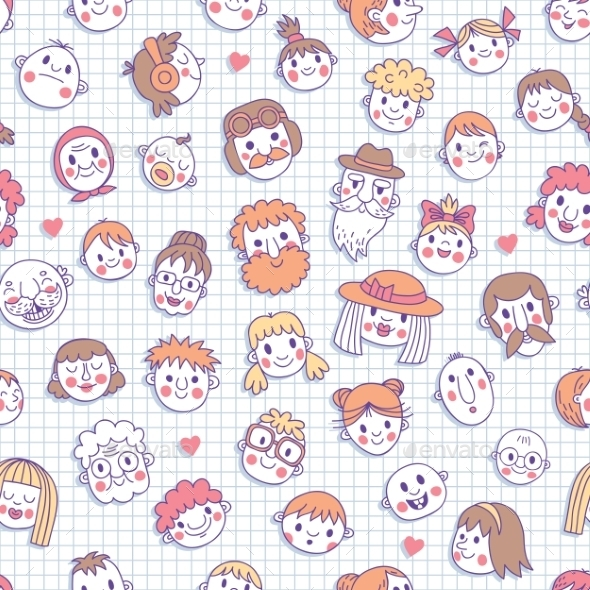 GraphicRiver Funny Cartoon Faces Seamless Pattern 8881234
