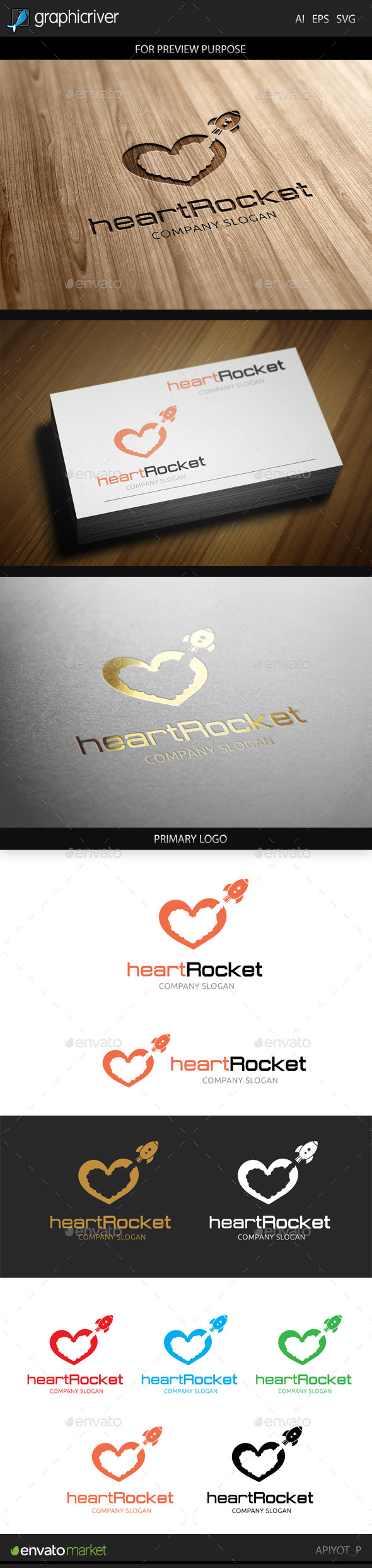 GraphicRiver Heart Rocket Logo 8881704