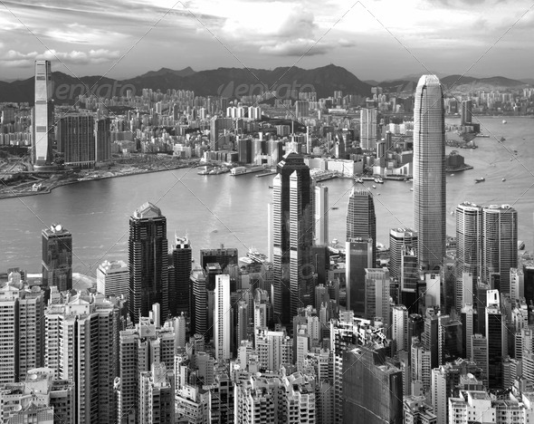 Hong Kong , black and white - Stock Photo - Images
