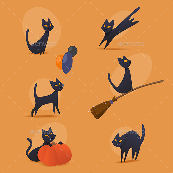 GraphicRiver Halloween Cats Set 8882155