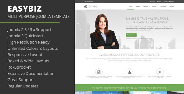 ThemeForest Easybiz Multipurpose Joomla Template 8882320