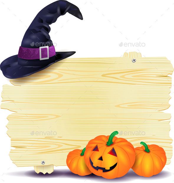 GraphicRiver Halloween Signboard with Hat and Pumpkins 8881780