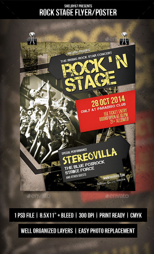 GraphicRiver Rock Stage Flyer Poster 8882416