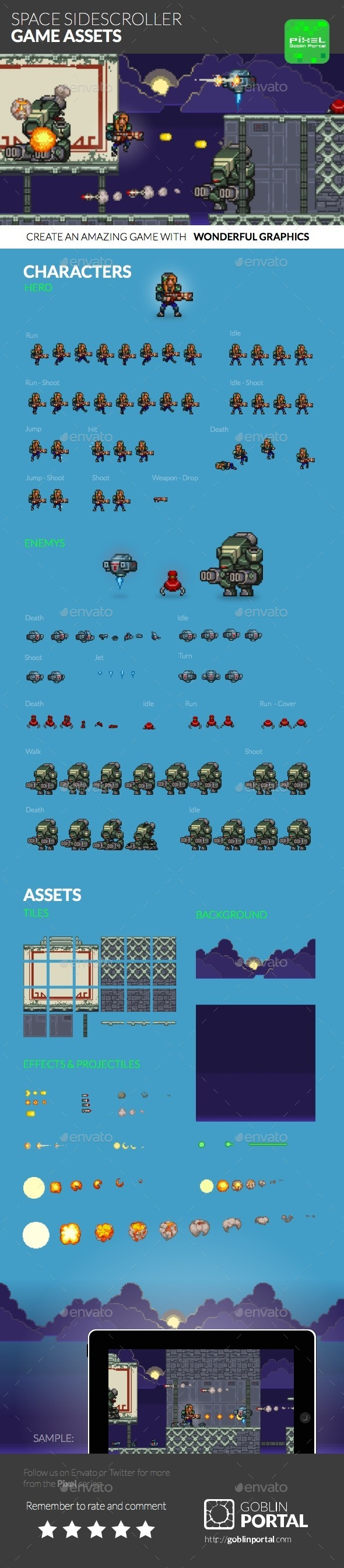 GraphicRiver Space Sidescroller Game Assets 8816860