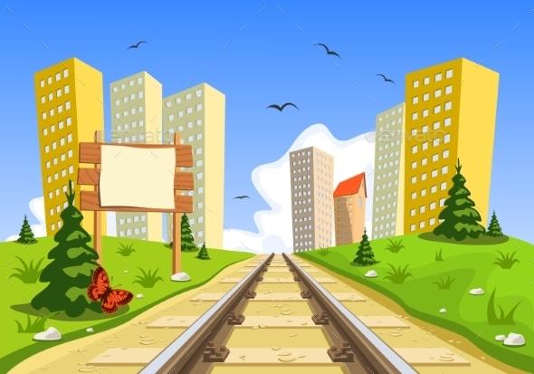 GraphicRiver Train Route into the City through the Landscape 8882704