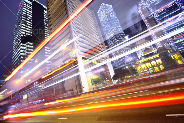 PhotoDune traffic in city at night 915157