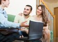 Couple talking with social worker at home - PhotoDune Item for Sale