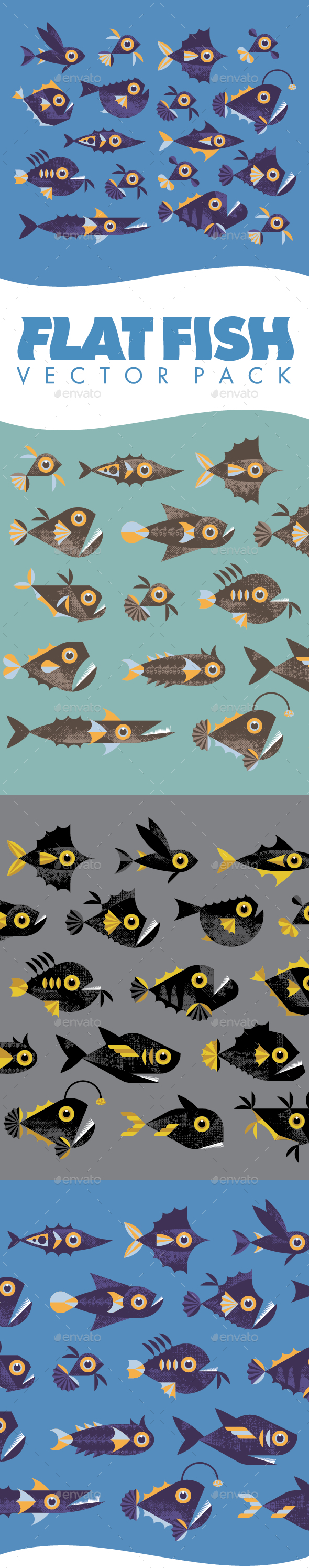 GraphicRiver Flat Fish Vector Pack 8882981