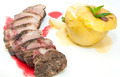 roast goose breast with apple sauce on white plate - PhotoDune Item for Sale
