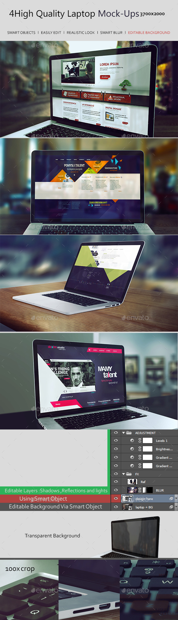GraphicRiver 4 High Quality Laptop Mock-Ups 8879276