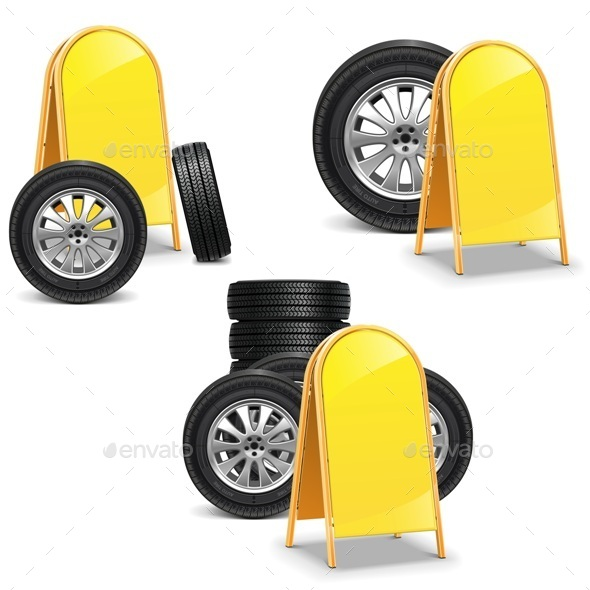 GraphicRiver Vector Tires with Billboard 8883393