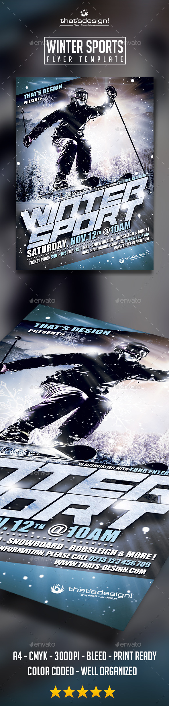 GraphicRiver Winter Sports Flyer Poster Template 8883406