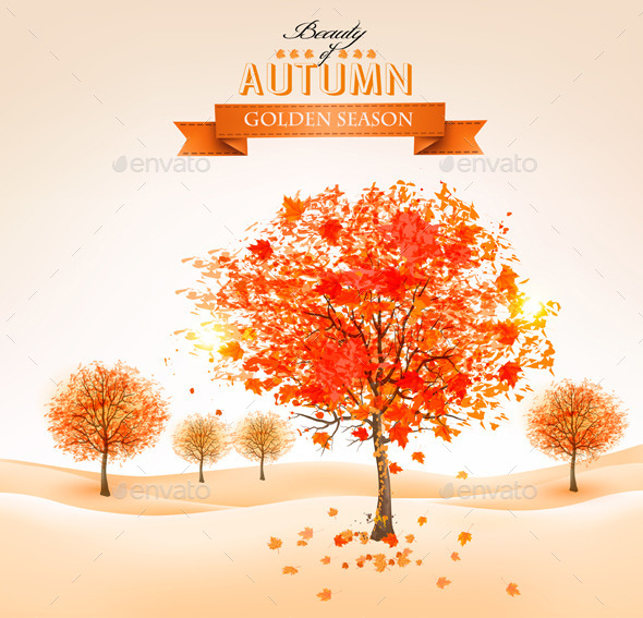 GraphicRiver Autumn Background with Colorful Leaves and Trees 8879271
